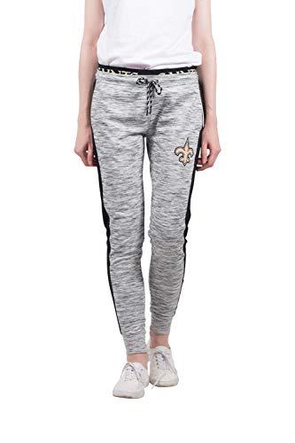 Ultra Game NFL New Orleans Saints Womenss Active Basic Fleece Jogger Sweatpants, Gray Space Dye, X-Large