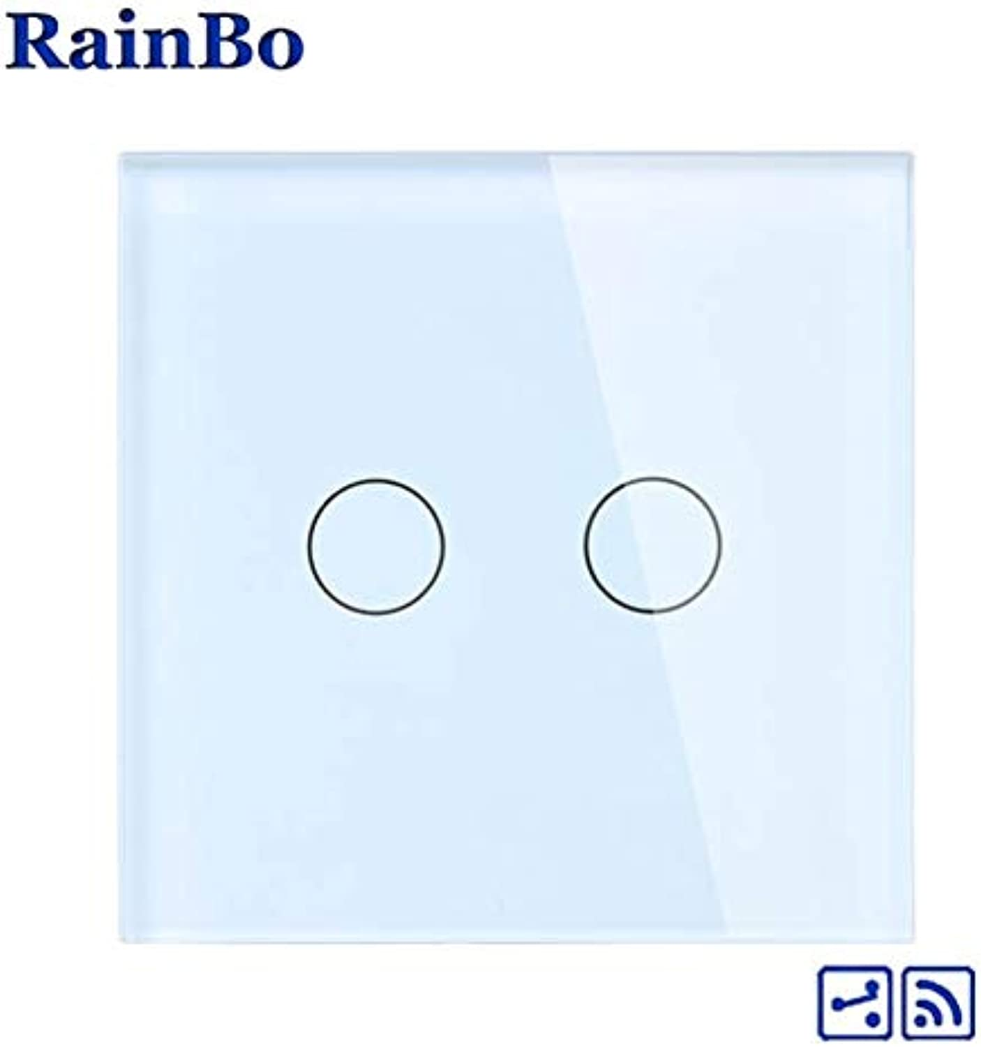 RainBo Wall Light Switch Remote Touch Switch Screen Crystal Glass Panel Wall Switch EU Remote 110250V 2gang2way A1924CW B  (color  White)