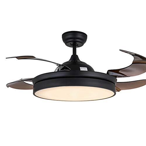 RDFlame 106cm Ventilador de techo con luz y mando a distancia, luz LED con 2 efectos, cuatro alas retráctiles, estilo moderno y sencillo
