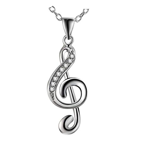 Music note necklace, treble clef pendant, musical gift for her