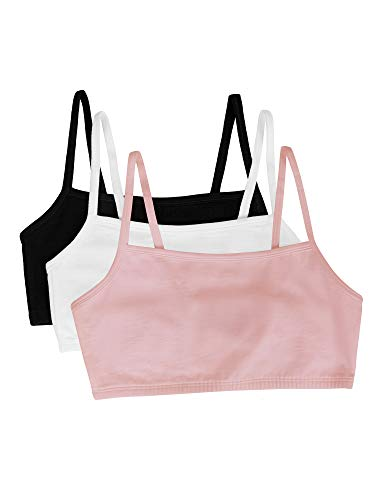 Fruit of the Loom womens Cotton Pullover Sport Bra, blushing rose/white/black 34