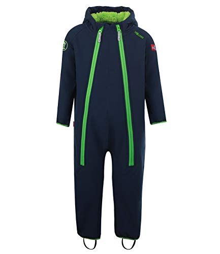 Trollkids Kinder Nordkapp Softshell Overall Einteiler, Marineblau/Grün, Größe 80