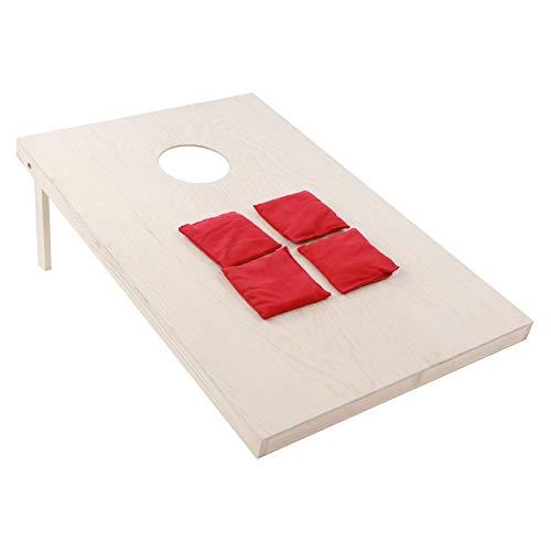 GOTOTOP Juego de puf con 8 pufs y bolsa para tirar el agujero de la base del juego incluido, mesa de lanzamiento, color rojo y azul
