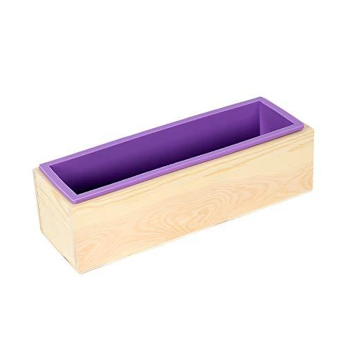 Molde de jabón rectangular hecho a mano, hecho a mano, molde de jabón de silicona y caja de madera para hacer suministros, hacer jabón, hornear pasteles, cubitos de hielo (morado)