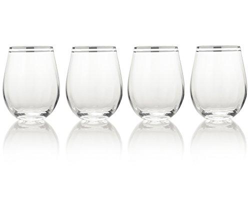Mikasa 'Haley' steelloze glazen met handbeschilderde platinarand, 4 stuks Wijnglas zonder steel kleurloos
