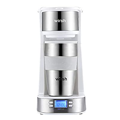 Wirsh Single Serve Coffee Maker- with Programmable timer and LCD display, Single Cup Coffee Maker with 14 oz. Stainless Steel Travel Mug and Reusable Filter,Compact Coffee Maker-White