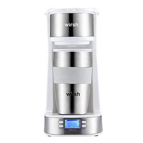 Wirsh Single Serve Coffee Maker- Small Coffee Maker with LCD display, Single Cup Coffee Maker with 14 oz. Travel Mug and Reusable Filter, Programmable Coffee Maker(Black/White)