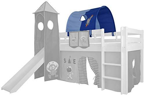 XXL Discount Tunnel für Kinderbett 100% Baumwolle Baldachin Dach Bettdach Himmel für Hochbett Spielbett Etagenbett Kinderbett (Hell Blau/Dunkel Blau, Weltraum, Weiße Holzhalter)