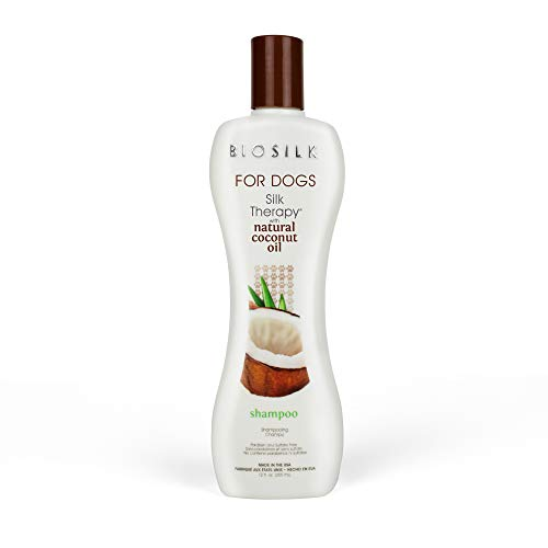 BioSilk for Dogs Silk Therapy Shampoo with Natural Coconut Oil | Coconut Dog Shampoo, Sulfate and Paraben Free Natural Shampoo for Dogs, 12 Fl Oz Made in The USA
