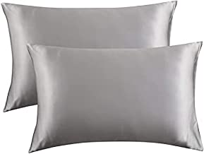 Bedsure Satin Pillowcase for Hair and Skin Queen - Silver Grey Silk Pillowcase 2 Pack 20x30 inches - Satin Pillow Cases Set of 2 with Envelope Closure