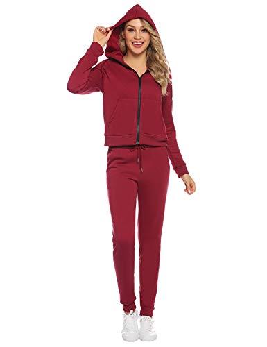 Aibrou Samt Zweiteiler Damen Trainingsanzug, Hausanzug Velours Jogginganzug Sportbekleidung Freizeitanzug Jogging-Anzug Bekleidungsset Sportanzug