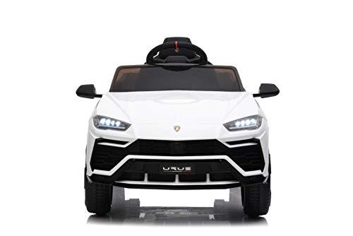 RIRICAR Elektrische Fahrt mit dem Auto Urus, Weiß, Original lizenziert, batteriebetrieben, Türen öffnen, 2X Motor, 12-V-Batterie, 2,4-GHz-Fernbedienung, weiche Eva-Räder, Federung, sanfter Start