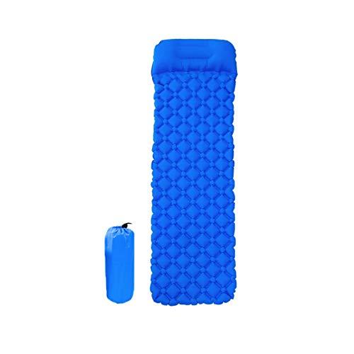 Colchoneta de dormir inflable portátil, tapete de picnic, tapete de playa, alfombrilla de aire plegable con almohada, adecuado para senderismo, camping, mochila, hamaca, tienda de campaña (azul real)