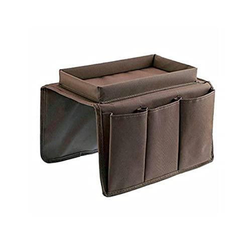 StrongAn Organizador de reposabrazos para sofá con 4 bolsillos y bandeja para portavasos Bolsa de almacenamiento colgante para sillón de sofá para teléfono móvil con control remoto de TV - Café