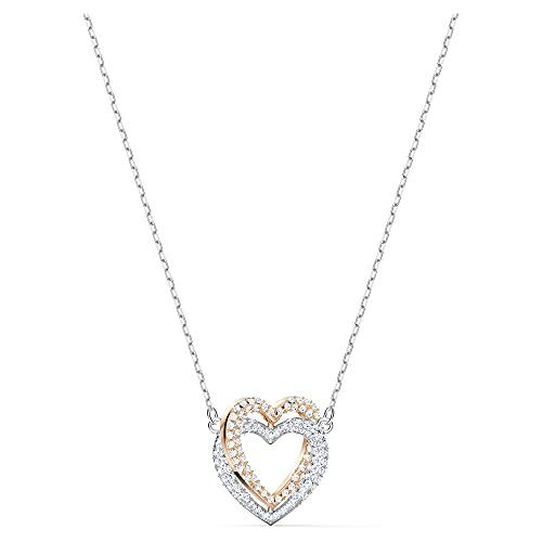 Swarovski Collar Swarovski Infinity Double Heart, blanco, combinación de acabados metálicos