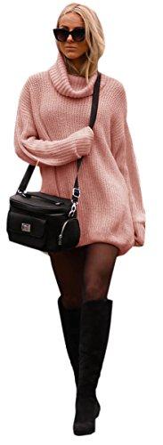 Mikos Damen Strickpullover Sweater Rollkragen Pullover Jumper Strick Pulli Oversize (648) (Puderrosa)