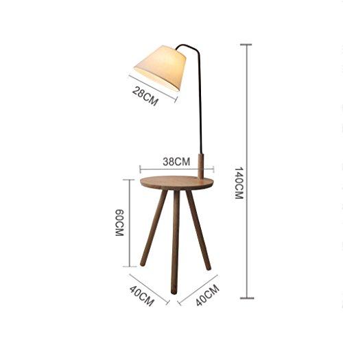 NA Home staande lamp, staande lezing, creatieve staande lamp, salontafel Nordic massief houten schaal met afstandsbediening, dimmen woonkamer slaapkamer bedlampje driehoek theelicht oogbescherming verticale tafel