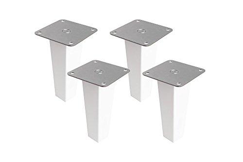 New Swedish Design 4er Set Möbelfüße Möbelbeine für IKEA Ivar Schrank Holzfüße aus Massivholz Buche mit Montageplatte & Schrauben weiß Ausführung Pyramid 16 cm