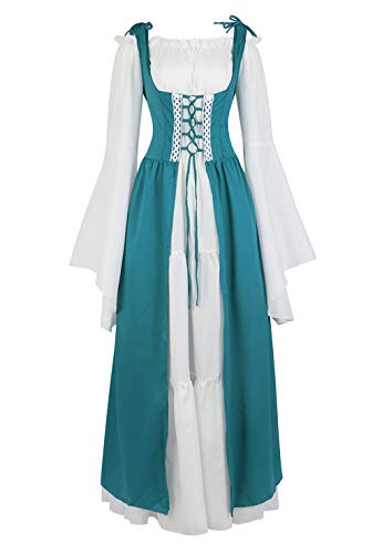 Womens Renaissance Cosplay Costume Medieval Irish Over Dress and Chemise Boho Set Gothic High Waist Gown Dress Sea Blue-L