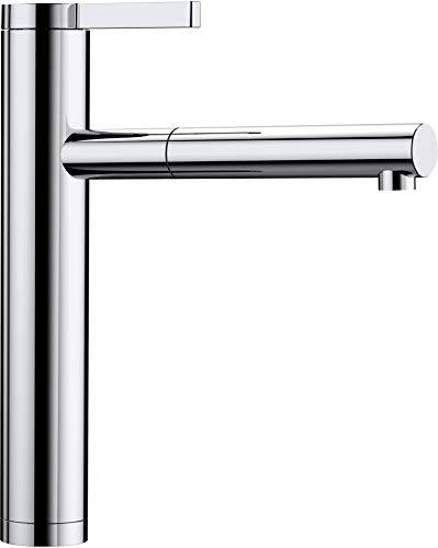 BLANCO Linee-S, Küchenarmatur - Einhandmischer, exklusiver Wasserhahn mit ausziehbarer Brause, Oberfläche chrom, Hochdruck, 1 Stück, 517591