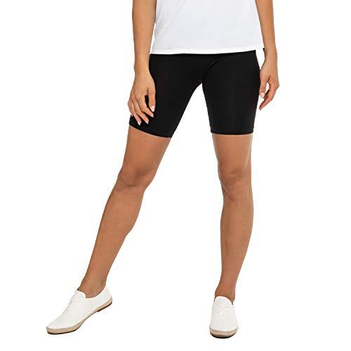Celodoro Damen Kurzleggings (1 Stück), Stretch-Jersey Radlerhose aus Baumwolle - Schwarz S