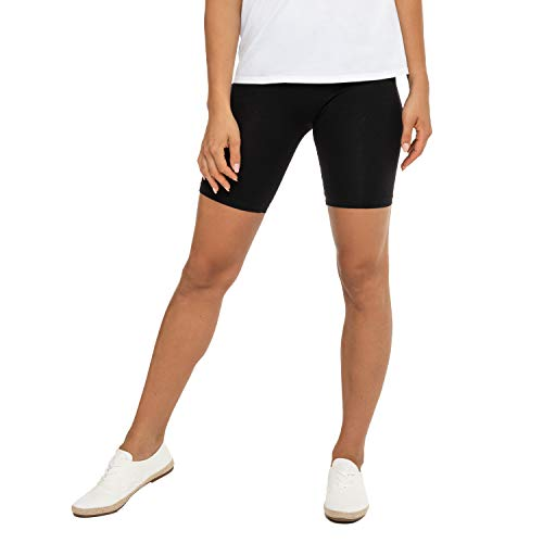 Celodoro - Mallas cortas para mujer (1 unidad), tejido elástico de algodón Negro S