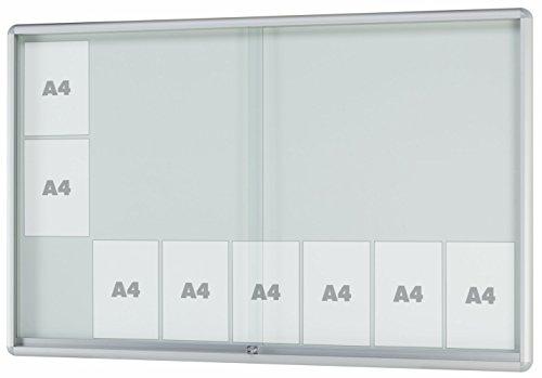 Schaukasten MOVEO - gerundeter Schaukasten für den Innenbereich, ESG-Sicherheitsglas, Rahmen aus Alu - div. Größen von 8 x DIN A4 bis 27 x DIN A4 | Brandschutz + Unfallschutz | (21 x DIN A4 Außenmaße BxHxT: 1615x1030x50mm)