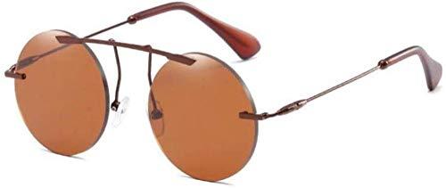 ZYIZEE Gafas de Sol Gafas de Sol sin Montura para Mujer Gafas de Sol de Moda Gafas de Sol Redondas Rojas Espejo Sombras Negras Gafas Retro para Hombre Uv400-C3_Tea_Tea