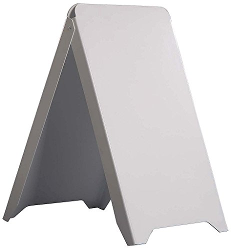 "M&T Displays Plastic A Board Advertising Fold able, Durable, Weatherproof, Outdoor Sidewalk Display Frame - PS Display, 19-7/10"" x 34-13/20"", White"