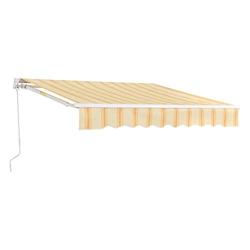 [en.casa] Markise 300x250cm einziehbare Gelenkarmmarkise mit Handkurbel Sonnenschutz für Balkon Terrasse Balkonmarkise UV- und witterungsbeständig Gelb/Weiß