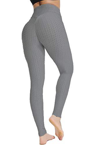 ASKSA Damen Sport Leggings Yoga Fitness Hose Lange Sporthose Stretch Workout Fitness Anti-Cellulite Butt Lift Hosenanzug Trainingsanzug Jogginghose (Grau, M)