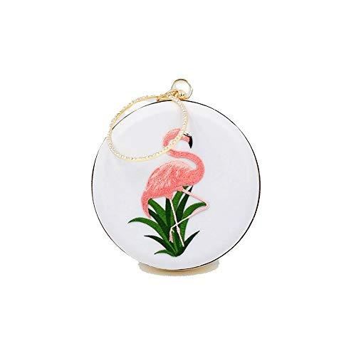 T-ara Das neue Neues Minirock-Abendessen Flamingo-Stickerei tragbare Kampf-Tasche Unverzichtbar zum Wandern (Color : White, Size : 18 * 5.5)