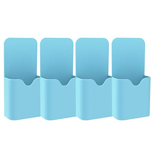 MoKo Magnetisch Markerhalterung, 4 Stück Stift/Bleistift/Magnete/Marker Ablage Whiteboard Stifthalter Zubehörhalter Organizer für Zuhause, Kühlschrank, Schließfach, Magnetische Oberflächen - Blau