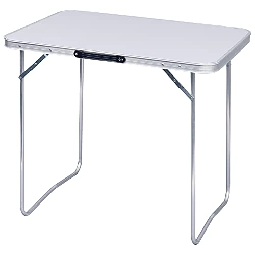WOLTU CPT8128sg Campingtisch Klapptisch 80 x 60,5 x 70 cm Klappbar Gartentisch aus Alu und MDF für Picknick Strand im Freien, Weiß
