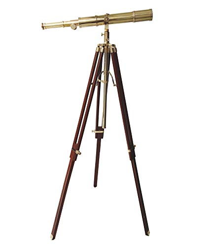 Retro Brass Telescope New Handmade Design by Indian Artisan Nautical Handicraft Royal Vintage Telescope with Brown Tripod Solid Wood - collectiblesBuy