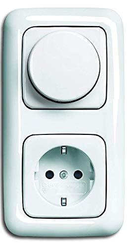 EBROM Komplettset LED Dimmer/Drehdimmer + Busch Jäger Reflex Si alpinweiß Rahmen, Dimmerscheibe, Steckdose (2512-214 2115-214 20EUC-214) Unterputz- Phasenabschnitt, LED 5-150 Watt und weitere