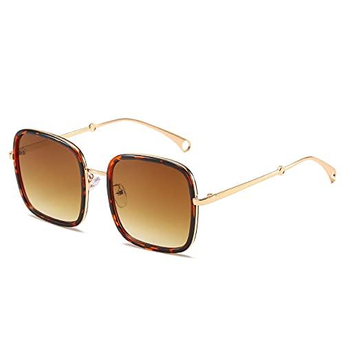 Sunglasses Gafas de Sol de Moda Gafas De Sol Rectangulares De Gran Tamaño para Mujer, Vintage, Azul, Rosa, con Lente De