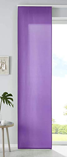 Gordijnbox, gordijnbox, 1 stuks, schuifgordijn, gordijn, roomdivider, mat, paneelwagen, verzwaringsstang, 100% polyester, lila, afmetingen 245 x 60 cm