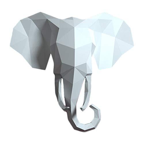 WLL-DP Cabeza De Elefante DIY Escultura De Papel 3D Hecha A Mano Modelo De Papel De Animal Papel Precortado Artesanía De Papel Juguete Geométrico Origami Puzzle Decoración De Pared,Blanco