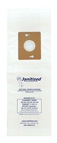 Janitized JAN-CMZOOM-2(3) Premium Replacement Commercial Vacuum Bag Designed to fit CleanMax Zoom vacuums (Pack of 36)