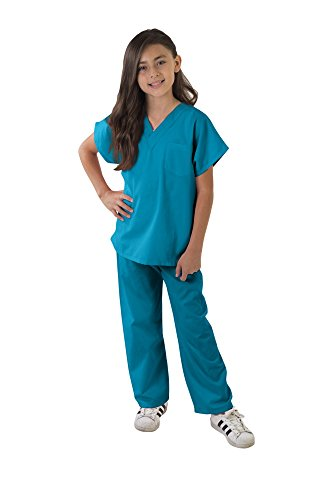 Kids Scrubs Super Soft Children Scrub Set Kids Doctor Dress up (8/10, Teal)