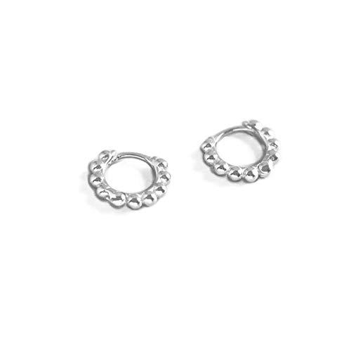 Minimalist Ball Bead Small Hoop Earrings for Women Girls Kids Men 925 Sterling Silver Pierced Ear Simple Cartilage Tragus Sleeper Huggie Mini Hoops Irregular Tiny Hinged Jewelry (6mm silver)