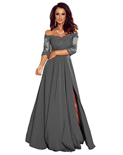 Women's Off The Shoulder Long Sleeves Mother of The Bride Dresses Slit Chiffon Formal Party Gowns Dark Grey US10
