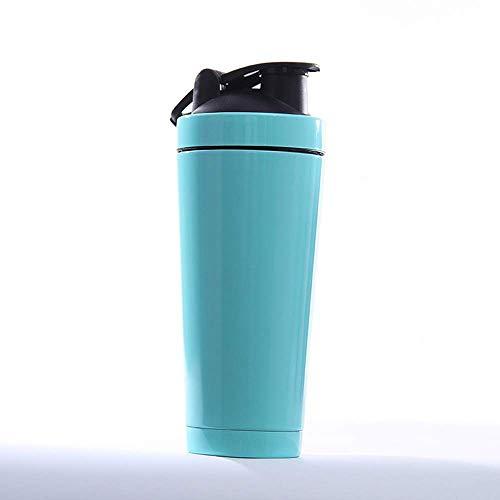 WEM Candelabros novedosos, botella mezcladora de proteínas de acero inoxidable, botella deportiva duradera de 740 ml con bola agitadora, para gimnasio, yoga, viajes al aire libre (7 colores),Cielo az
