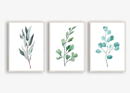 Kunstdruck 3-teilig Din A4 ungerahmt - Aquarell Pflanze Natur Zweige Äste Grün Landhaus Romantik Druck Poster Bild