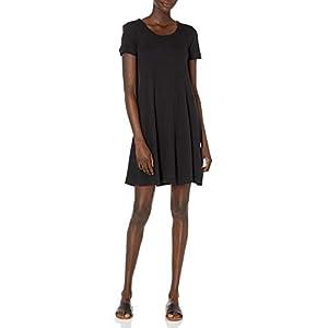 Women's  Cotton and Modal Short-Sleeve Scoop Neck Dress