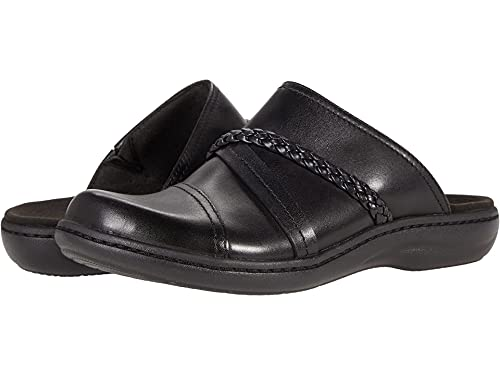 Clarks Women's Laurieann Step Clog, Black Leather, 9.5