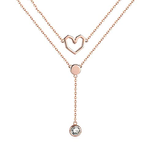 VAWAA Colección de San Valentín 925 Capas Dobles de Amor corazón Cadena Colgante Collares Mujeres joyería Femenina