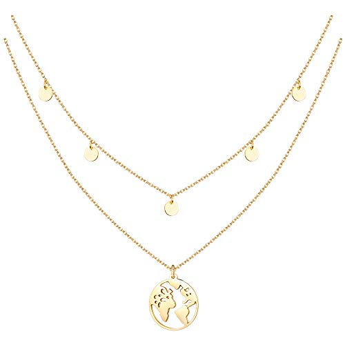MILACOLATO 2 Piezas Globe & 5 Small Coin Collar de Cadena de Acero Inoxidable para Mujer en Plata, Oro o Oro Rosa