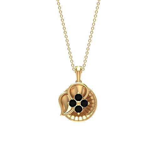 Rosec Jewels 10 quilates oro amarillo redonda Black Ónix negro